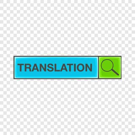 Search translation icon, cartoon style Illustration