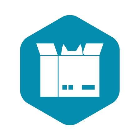 Cat in a cardboard box icon. Simple illustration of cat in a cardboard box vector icon for web design  イラスト・ベクター素材
