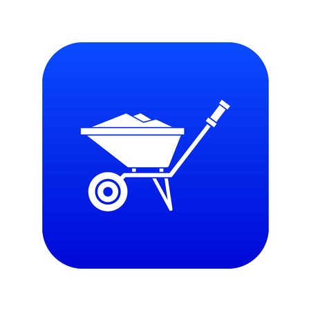 Wheelbarrow icon digital blue for any design isolated on white vector illustration