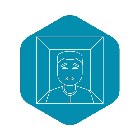 Man in a box icon. Outline illustration of man in a box vector icon for web
