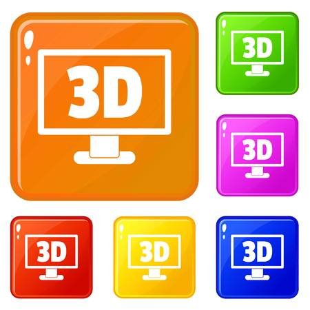 Computer monitor with 3d inscription icons set vector color