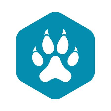 Cat paw icon, simple style