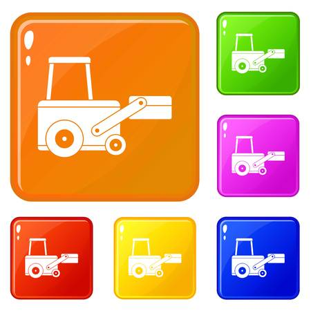 Truck to lift cargo icons set collection vector 6 color isolated on white background