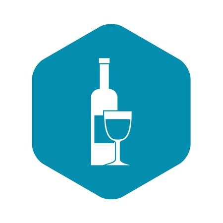 Wine bottle and glass icon, simple style