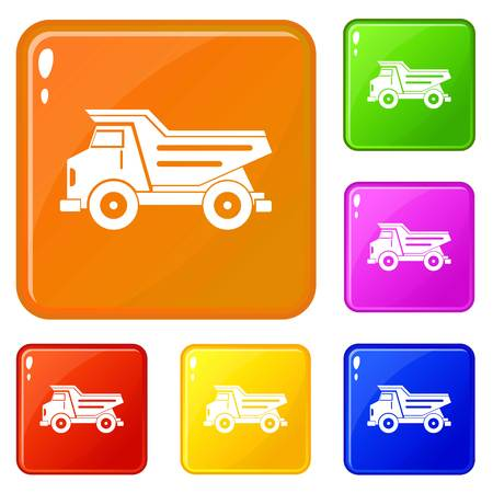Dump truck icons set collection vector 6 color isolated on white background