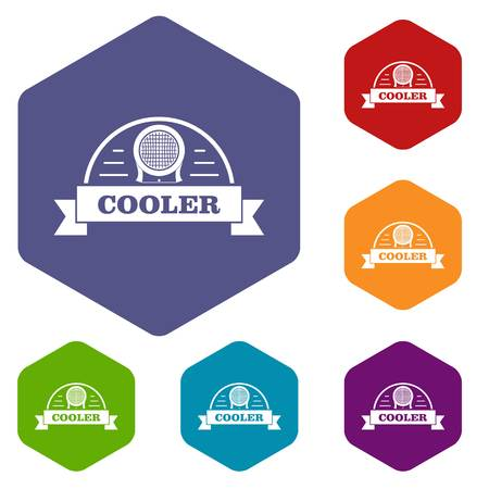 Air cooler icons vector hexahedron