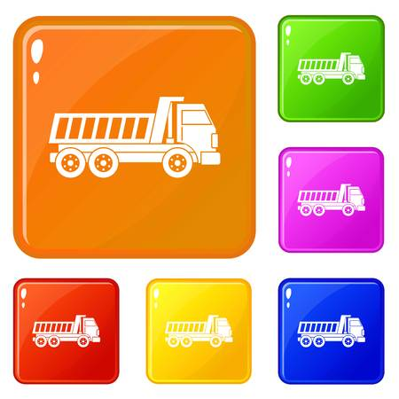 Dumper truck icons set collection vector 6 color isolated on white background Vettoriali