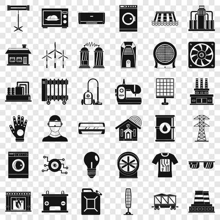 Electrical engineering icons set, simple style Illusztráció