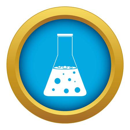 Chemical flask icon blue vector isolated Illustration