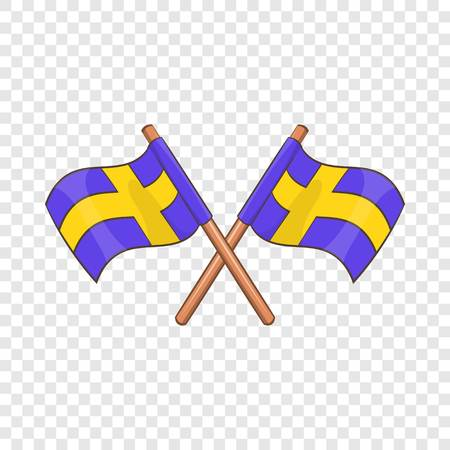 Crossed swedish flags icon in cartoon style isolated on background for any web design Çizim
