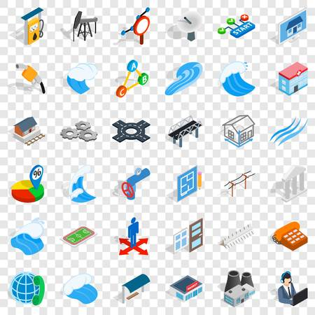 Electricity icons set. Isometric style of 36 electricity vector icons for web for any design