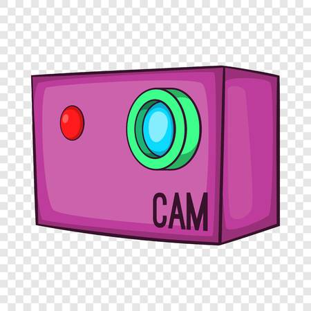 Action video digital camera icon, cartoon style