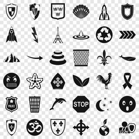 Emblem icons set, simple style 矢量图像