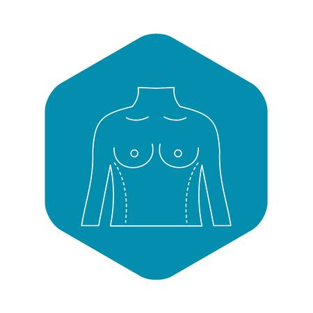 Torso marked with lines for cosmetic correction icon. Outline illustration of torso marked with lines for cosmetic correction vector icon for web