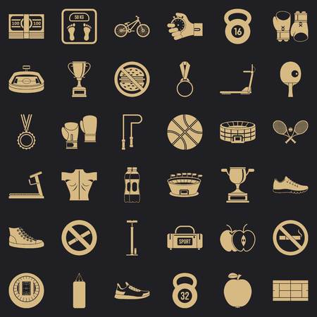 Boxing bag icons set, simple style Stock Illustratie