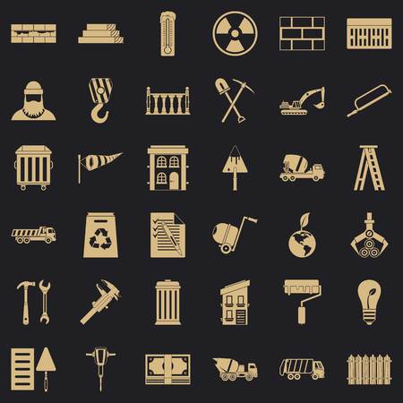 Building work icons set, simple style Illustration