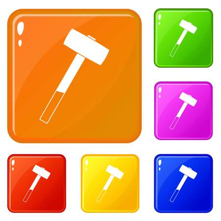 Sledgehammer icons set collection vector 6 color isolated on white background Ilustração