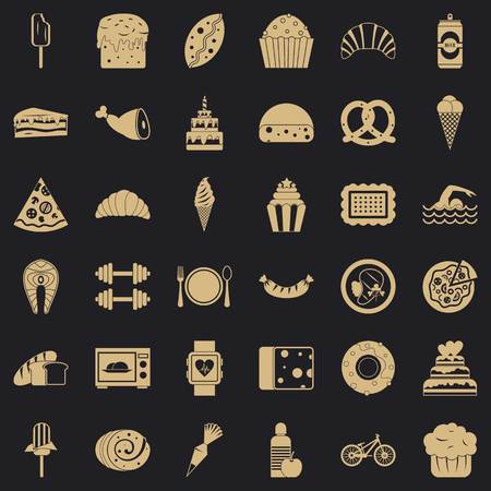 Sweet calories icons set, simple style