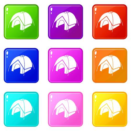Tent icons set 9 color collection isolated on white for any design