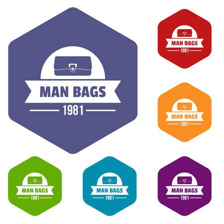Man bags icons vector hexahedron