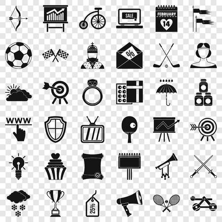 Arrow in target icons set, simple style Banque d'images - 122223114