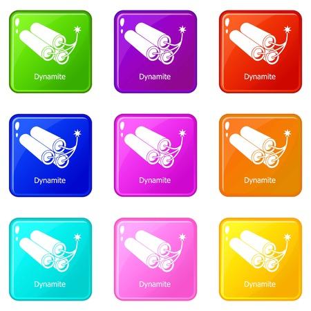 Dynamite icons set 9 collection de couleurs isolées sur blanc pour toute conception