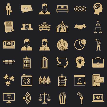 Conformity in work icons set, simple style Illustration