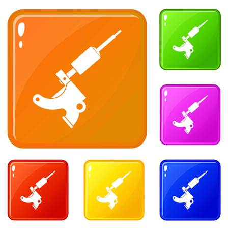 Coil tattoo machine icons set vector color