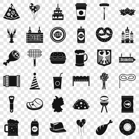 Oktoberfest party icons set, simple style Stock Illustratie