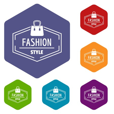 Fashion style bag icons vector hexahedron