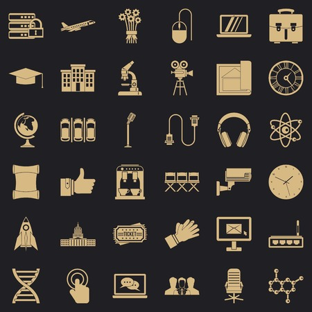Good conference icons set, simple style Stock Illustratie