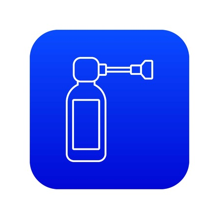 Inhaler icon blue vector isolated on white background Illustration