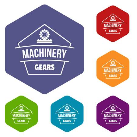 Machinery icons vector colorful hexahedron set collection isolated on white