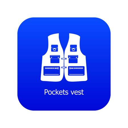 Pockets vest icon blue vector isolated on white background