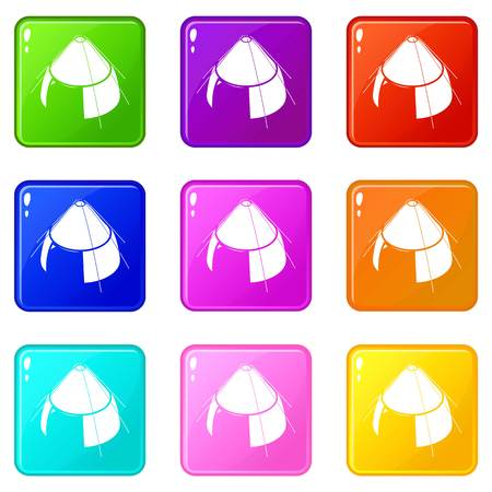 Conic tent icons set 9 color collection isolated on white for any design