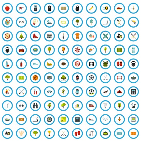 100 sports ground icons set in flat style for any design vector illustration Illustration