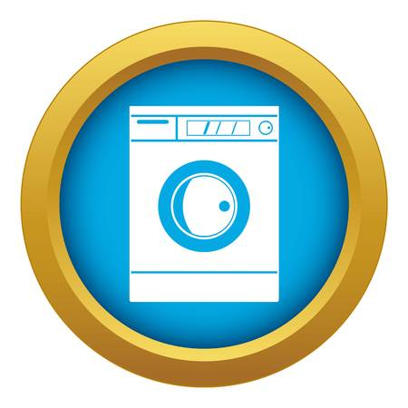 Washing machine icon blue vector isolated on white background for any design