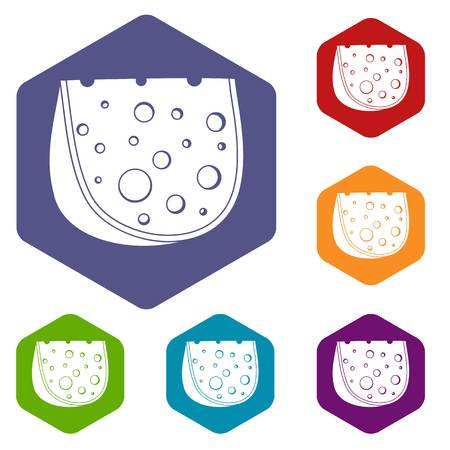 Cheese icons vector colorful hexahedron set collection isolated on white