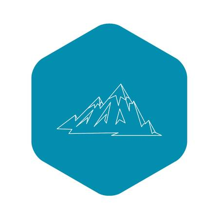 Mountains icon. Outline illustration of mountains vector icon for web Illustration