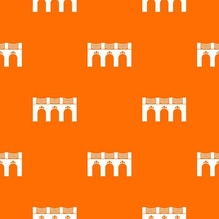 Old arch bridge pattern vector orange for any web design best Stock Illustratie