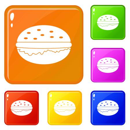 Burger icons set collection vector 6 color isolated on white background 矢量图像