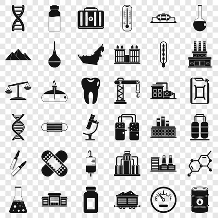 Chemical molecule icons set, simple style