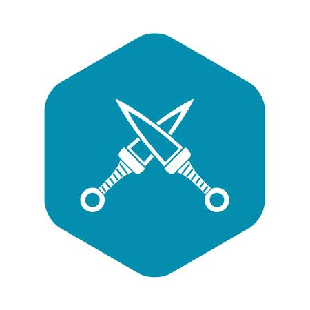 Crossed japanese daggers icon, simple style