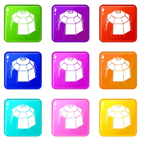 Hexagonal tent icons set 9 color collection isolated on white for any design