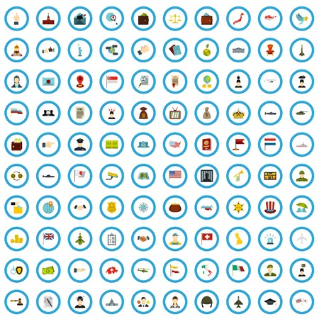 100 state icons set in flat style for any design vector illustration 写真素材 - 123760773