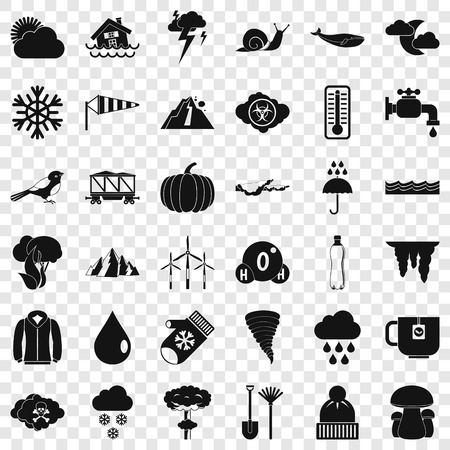 Winter cloud icons set, simple style