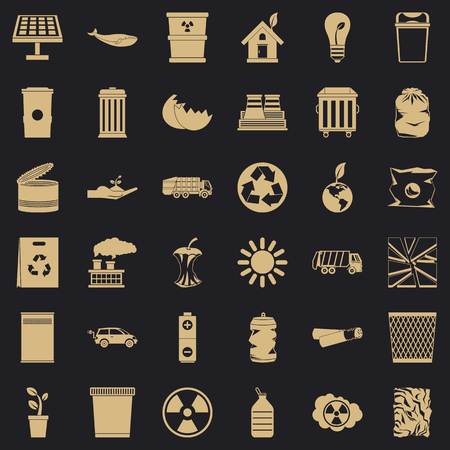 Ecology in planet icons set, simple style Stock Illustratie