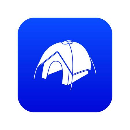 Tent icon blue vector isolated on white background