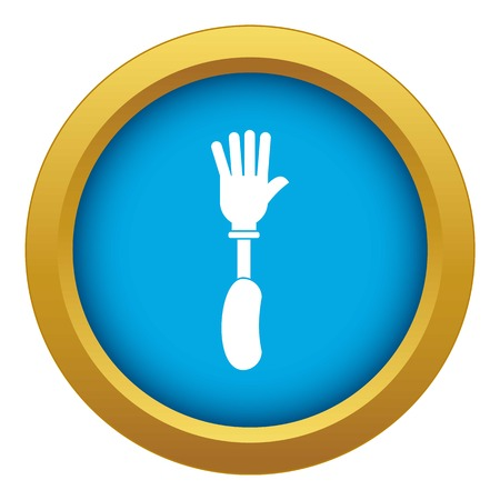 Prosthesis hand icon blue vector isolated Illustration