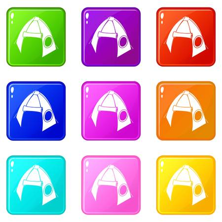 Tribal tent icons set 9 color collection isolated on white for any design